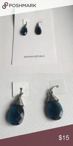 Banana Republic blue teardrop earrings Banana Republic blue teardrop earrings, great condition never worn Banana Republic Jewelry Earrings