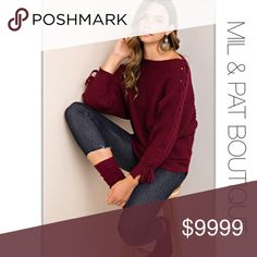 """🆕ARRIVAL🍂LACE UP SLEEVE SWEATER Beautiful long dolman burgundy sweater with lace up detailing on the sleeves. Gorgeous for the holiday season!  Material: 100% Acrylic  Fit: Runs true to size. Slightly oversized.  Size: Small 2-4 Length - 26""""  Medium 4-6 Length - 27""""  Large 8-10 Length - 28""""  Care: Hand Wash Sweaters Crew & Scoop Necks"""