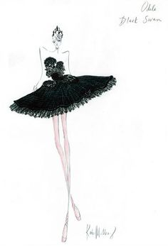 "Odile, the Black Swan. Sketch by Kate Mulleavy of Rodarte for the movie ""Black Swan."""