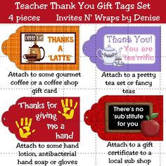 A set of 4 gift tags just right for little gifts for the teacher. One tag is for coffee or a coffee gift certificate, one is for tea, one is for hand products (lotion, mittens) and one is for a gift certificate to a sandwich shop. These can be used by school administration to honor teachers during Teacher Appreciation Week as well. Print right from your own computer
