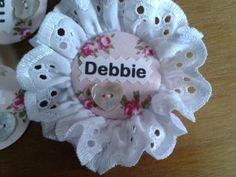 Custom fabric & button printed hen wedding ROSETTE badge £2.49