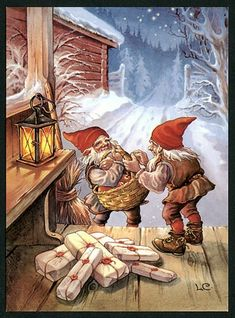 Lars Carlson postcard, Elves with Presents, Xmas Swedish Christmas, Christmas Gnome, Scandinavian Christmas, Xmas, Vintage Christmas Cards, Christmas Images, Troll, Elves And Fairies, Christmas Illustration