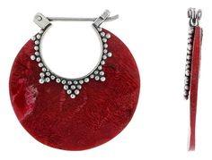 "Sterling Silver Bib-style Natural Red Coral Earrings 1 1/8"" (28 mm)"