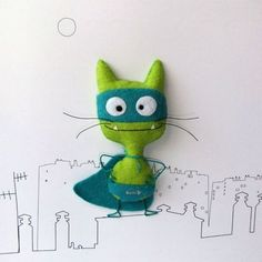 "Put one in each party bag with a label.every superhero needs a side kick! times of crisis, nothing beats a nice guy in his underwear""-translation from french-wonderful stuff! Ugly Dolls, Sock Animals, Felt Patterns, Cat Crafts, Cute Toys, Felt Diy, Cat Design, Softies, Needle Felting"