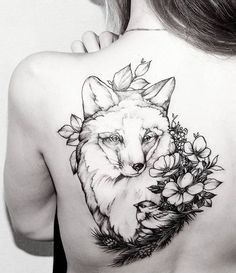 Large Fox Tattoos on Back For Girls