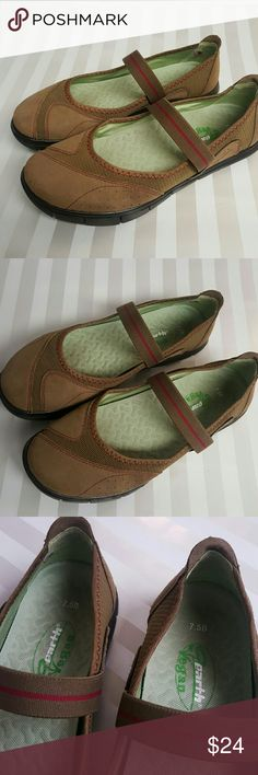 Earth Vegan Shoes Size 7.5 Earth Vegan Inhale Mary Jane style brown microfiber comfort flats.   Elastic strap.   Flex sole. Very comfortable.  Excellent condition. Earth Shoes Flats & Loafers