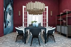 Wow, amazing dining room design with red color... | Visit : roohome.com  #diningroomdesign #diningroom #awesome #great #simpledesign #uniquedesign #gorgeous #fabulous #decoration