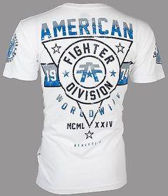 American Fighter Affliction Hombre Camiseta Blanco Silver Lake Biker Gimnasio Mma Ufc $40