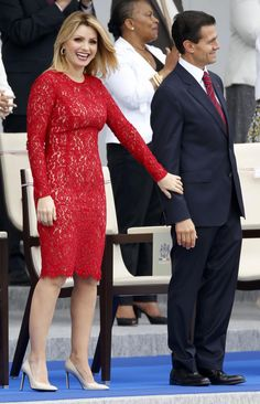 Mexico's President Enrique Pena Nieto and Mexico's First Lady Angelica Rivera arrive to attend the traditional Bastille Day military parade in Paris