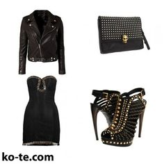 Classic black coctail dress in a glam-rock style. #rock #black #glamour