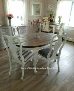 Charming communicated shabby chic dining room decor Get This Shabby Chic Furniture, Dining Room Furniture, Dining Room Table, Queen Anne Furniture, Dining Table Makeover, Outdoor Furniture, Shabby Chic Kitchen Table, Farmhouse Kitchen Tables, Farmhouse Ideas