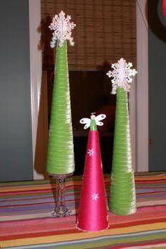 Pink Yarn Tree ::: Green Ribbon Tree