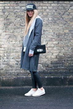 Fall Fashion street style #reebok #vogue #sporty #trench