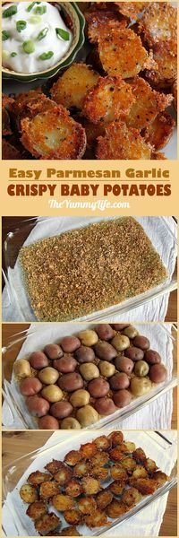 Easy, Crispy, Parmesan Garlic Roasted Baby Potatoes have amazing flavor and texture. They can be prepared quickly for a healthy dinner side, Game Day or party snack, or breakfast and brunch potatoes. TheYummyLife.com