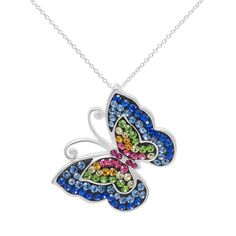 Crystal Sterling Silver Butterfly Pendant Necklace, Women's, multicolor