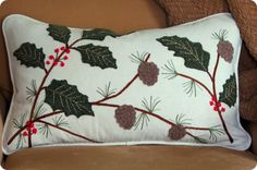 Embroidered Christmas Pillow from Old Sweaters {a Pottery Barn knock-off}