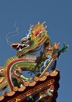 Asian Chinese culture temple colorful dragon