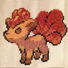 Pokémon cross stitch project - Vulpix #pokemon #vulpix #crossstitch