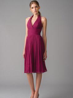 Magenta Halter Chiffon Knee-length Bridesmaid Dress
