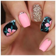 nail art designs for spring . nail art designs for winter . nail art designs with glitter . nail art designs with rhinestones Summer Acrylic Nails, Best Acrylic Nails, Acrylic Nail Designs, Nail Art Designs, Nails Design, Flower Design Nails, Nail Designs For Kids, Summer Shellac Nails, Salon Design