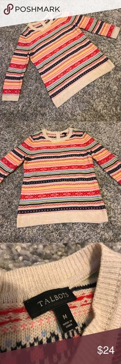 Talbots Colorful Sheep Wool Women's Medium Sweater Beautiful super soft sweater! Reasonable offers accepted! Bundle for a private discount! Talbots Sweaters Crew & Scoop Necks