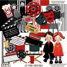 Scrapbook Kit  At the Moviesincludes clipart by DigitalPaperCraft, $5.00