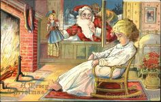 Santa placing doll in window with a sleeping child A Merry Christmas