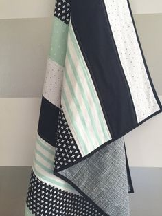Baby Quilts Mint black white baby toddler quilt gender by WilderAndBean Black And White Quilts, Black And White Baby, Quilting Projects, Quilting Designs, Sewing Projects, Quilt Baby, Boy Nursery Colors, Toddler Quilt, Strip Quilts