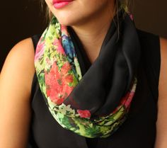Black scarf with a Red and Green flower pattern  by slyscarves, $30.00