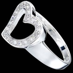 Silver ring, CZ, heart Silver ring, Ag 925/1000 - sterling silver. With stones (CZ - cubic zirconia). Expressive heart silhoutte is made up of zircons set in pave. Heart dimensions approx. 15x15mm.