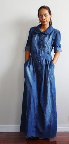 Denim Maxi Dress Long Sleeved Dress Urban Chic by Nuichan, $55.00