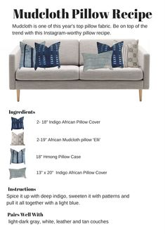 Want to give your living room a makeover? Check this out for super cute decorative pillow ideas. Great pillow color combos and pillow combos for your couch.   mud cloth pillow combination, indigo pillow, blue pillow combo