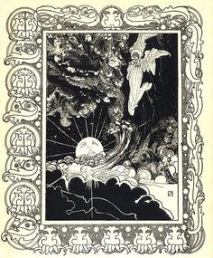 "The moon, in an illustration by Charles Robinson for ""What the Moon Saw,"" by Hans Christian Andersen, in Fairy Tales, translated by Mrs. E. Lucas, 1903."