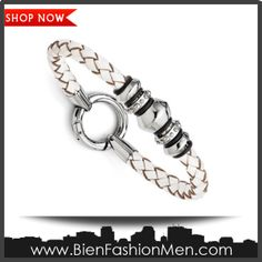 Mens Bold Bracelets | Mens Bracelets | Mens Bracelet | Mens Jewelry | Mens Accessories | Bracelets on Men | Mens Jewelery | Shop Now ♦ Stainless Steel Polished White Leather Bracelet - 8.25 Inch - JewelryWeb $77.40