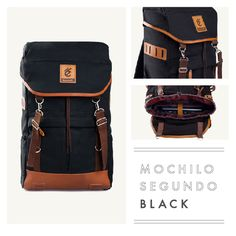 """MOCHILO SEGUNDO  BLACK  Rp. 275.000  FREE SHIPPING ALL OVER INDONESIA  Dimension: 31cm x 14cm x 50 cm 21 Litre 15"""" Laptop Sleeve  Material: High Quality Canvas WR Faux Leather Accessories Leather Accessories YKK Zipper"""