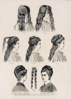 FlouncedLucia Trendfrisuren Joe, akkurater Mittelscheitel oder People from france Cut Cease to live Frisurentrends Historical Hairstyles, Edwardian Hairstyles, 1800s Hairstyles, School Hairstyles, Prom Hairstyles, 1870s Fashion, Victorian Fashion, Victorian Makeup, Victorian Era Dresses
