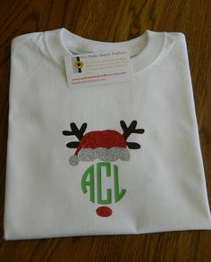Monogrammed Rudolph Santa Shirts by PolkaDottedSunflower on Etsy