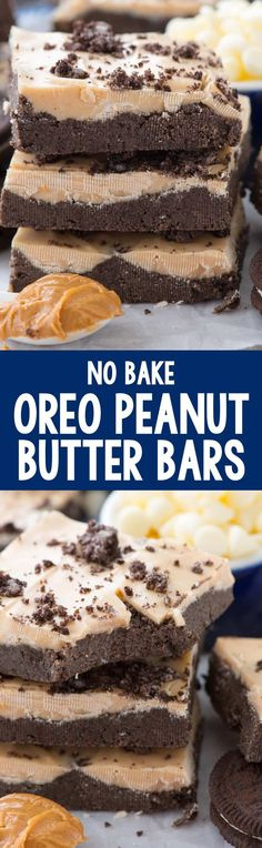 No Bake Oreo Peanut Butter Bars - this easy no bake peanut butter bar recipe uses OREOS instead of crackers! It's chocolate and peanut butter amazingness!
