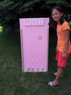 """DIY plinko game for Get Your Pink on golf tournament for breast cancer. """"PINKO"""""""