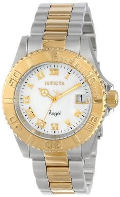 Women's Wrist Watches - Invicta Womens 14364 Angel Analog Display Swiss Quartz Two Tone Watch *** Want additional info? Click on the image. (This is an Amazon affiliate link)