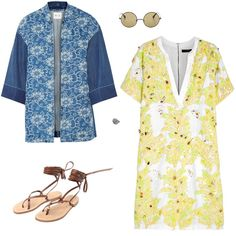 MiH Jeans floral-print denim kimono jacket, $525; net-a-porter.com; Elizabeth and James round sunglasses, $225; shopbop.com; J.Crew sparrow embellished linen and cotton-blend dress, $950; net-a-porter.com; Capritouch Footwear gladiator sandal, price upon request; for information: bloomingdales.com; Toni P Jewelry domed sun ring, $72; tonipjewelry.com
