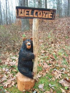 Chainsaw Carved Climbing Welcome Bear by carvnstitch on Etsy, $175.00