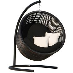 Skyline Fabio Hanging Chair ($3,000) ❤ liked on Polyvore featuring home, outdoors, patio furniture, hammocks & swings, black and outdoor hanging chair