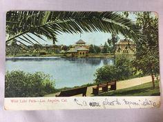 Vintage Westlake MacArthur Park, Los Angeles, CA postcard postmarked 1908