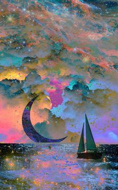 Art inspiration idea..moo set..on the sea..blues and pinks..crescent moon..sailboat..magical