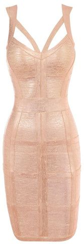 Elegant Gold V-neck Bandage Dress