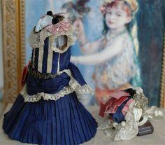 "Dress and Bonnet for Antique Doll, Bru Jumeau Steiner 13"""