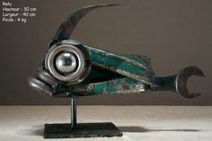 Christian Champin Metal Art Sculpture, Fish Sculpture, Metal Yard Art, Scrap Metal Art, Found Object Art, Art Object, Fish Ornaments, Metal Art Projects, Metal Fish