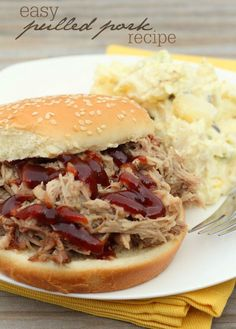 Delicious and Easy Crock Pot Pulled Pork recipe. Only three ingredients!