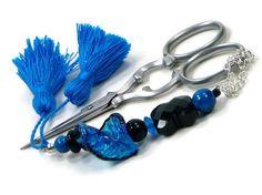Scissor Fob Blue Black Scissor Minder Needlepoint by TJBdesigns